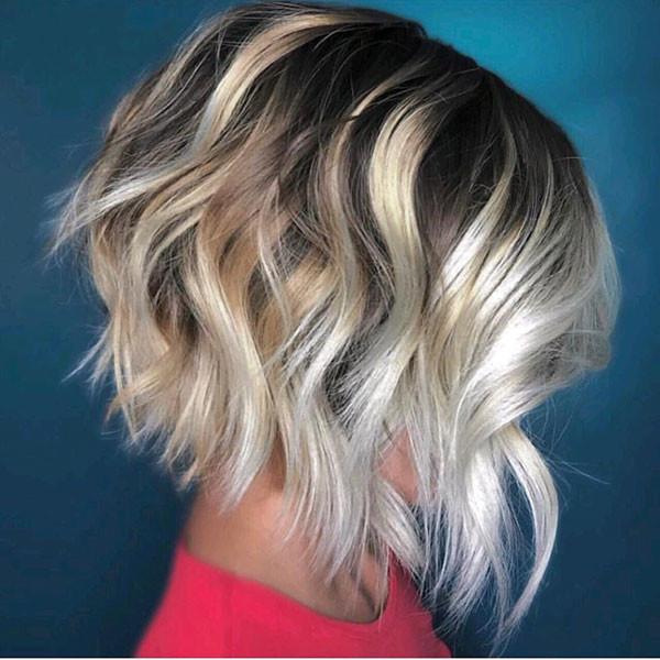 Angled-Blonde-Bob-Hair Popular Bob Hairstyles 2019