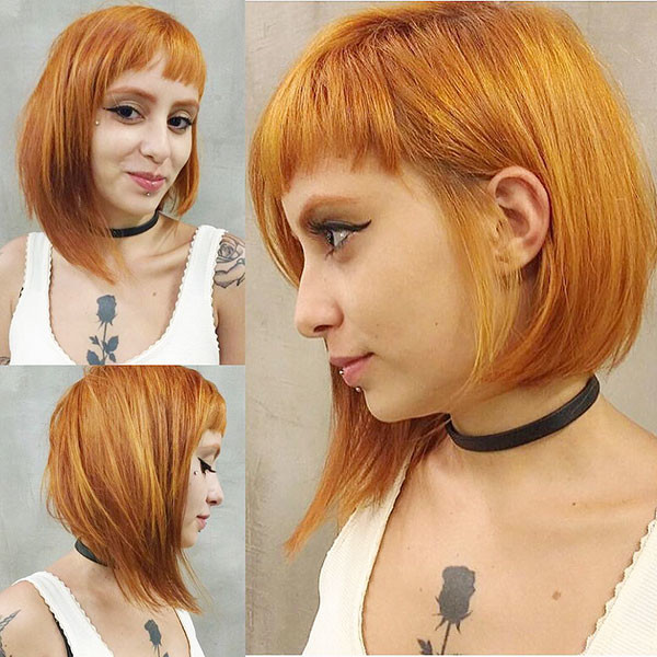 Asymmetrical-Bob-with-Bangs Beautiful Short Hair for Girls