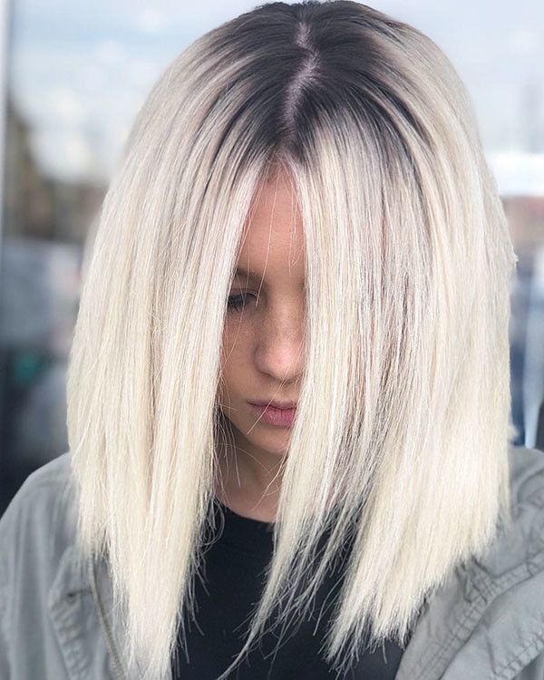 Blonde-Hair-and-Dark-Roots Beautiful Short Hair for Girls
