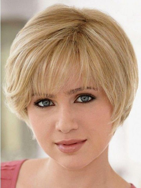 Blonde-Hair-with-Fringe Short Haircuts for Women with Round Faces