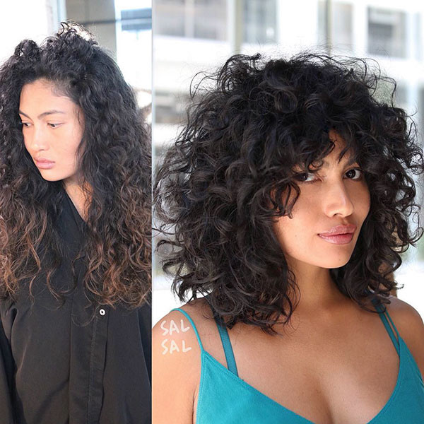 Curly-Hair-Lob-with-Bangs Best Short Curly Hair Ideas in 2019