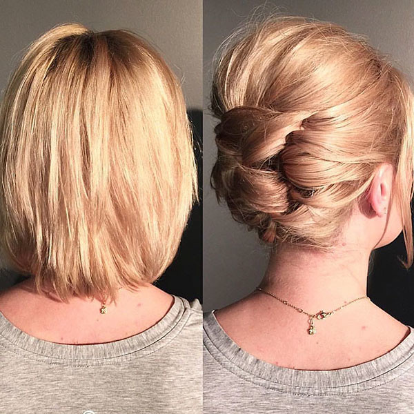 Easy-Bun Wedding Hairstyles for Short Hair 2019