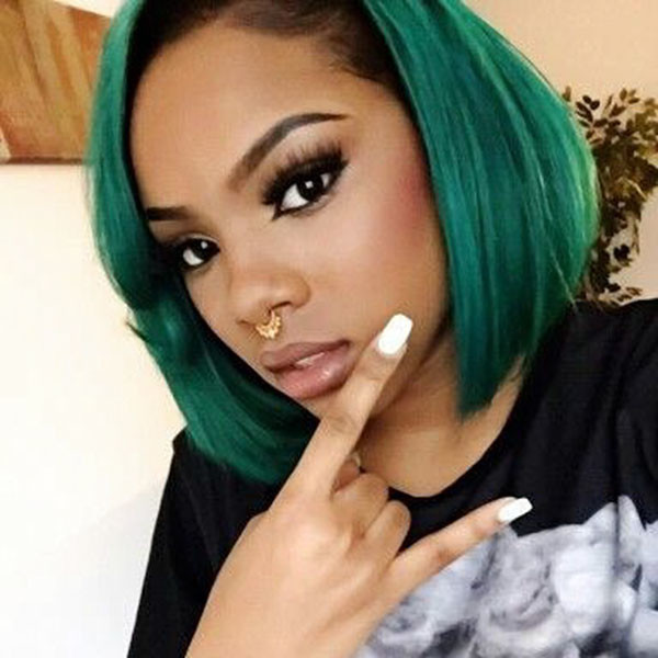 Green-Colored-Bob Best Bob Hairstyles for Black Women Pictures in 2019