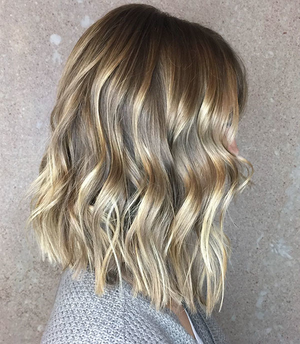 Highlighted-Wavy-Lob Best Short Wavy Hair Ideas in 2019