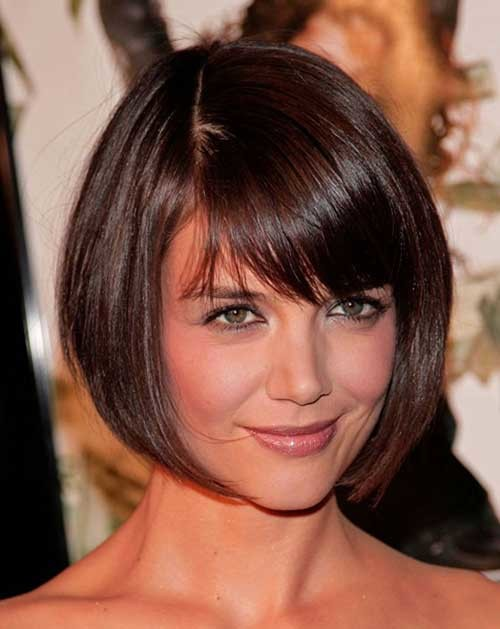 Katie-Holmes-Cute-Short-Hair-for-Fine-Hairstyle Short Straight Hairstyles for Fine Hair
