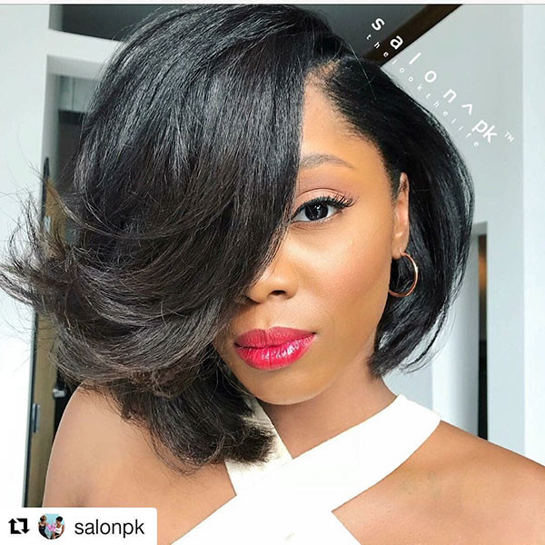 Layered-Long-Bangs Best Bob Hairstyles for Black Women Pictures in 2019