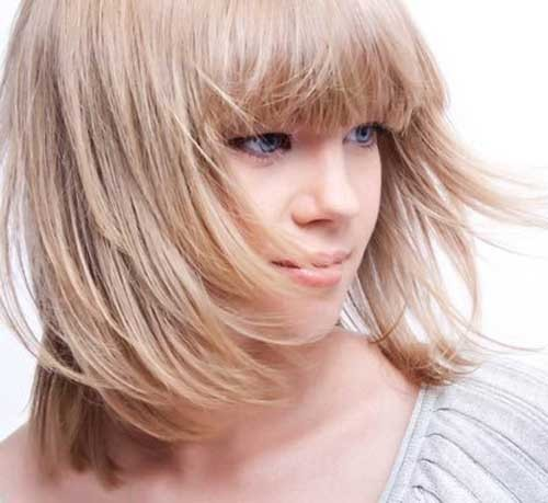 Long-Layered-Bob-Hairstyle-with-Bangs-for-Fine-Hair Short Straight Hairstyles for Fine Hair