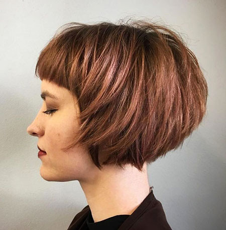Messy-Bob-with-Fringe Short Bob Haircuts for Women