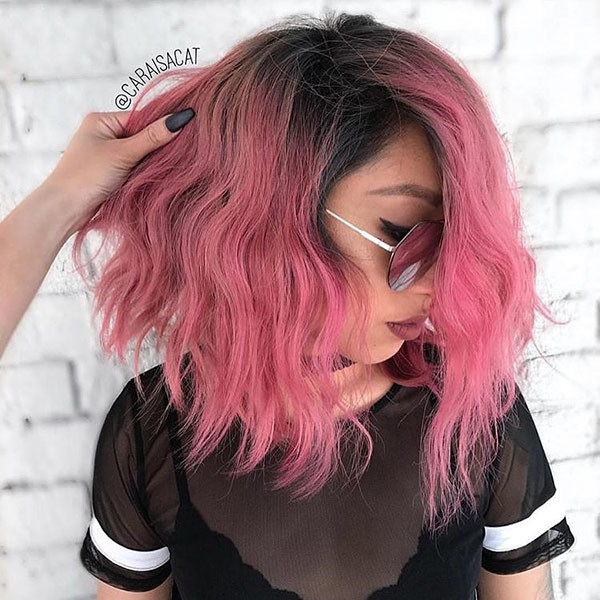 Pink-Bob-with-Dark-Roots Beautiful Short Hair for Girls