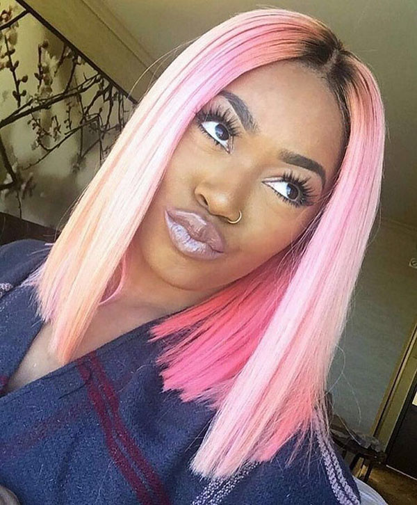 Pink-Colored Best Bob Hairstyles for Black Women Pictures in 2019