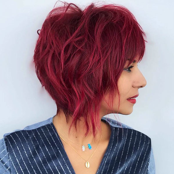 Red-Colored-Hair New Cute Short Hairstyles
