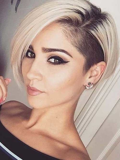 Shaved-Side Best Short Fine Hairstyles Women 2019