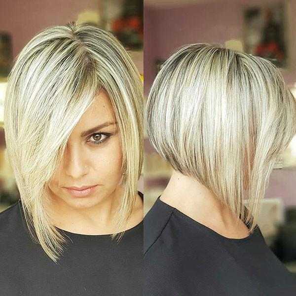 Short-Back-Long-Front-Bob-Hair Popular Bob Hairstyles 2019