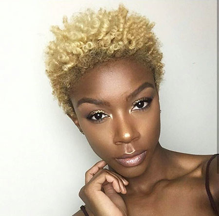 Short-Blonde-Natural-Hair Short Natural Hairstyles with Color