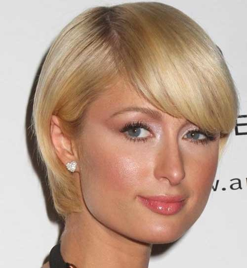 Short-Blonde-Straight-Side-Bang-Haircut-for-Fine-Hair Short Straight Hairstyles for Fine Hair
