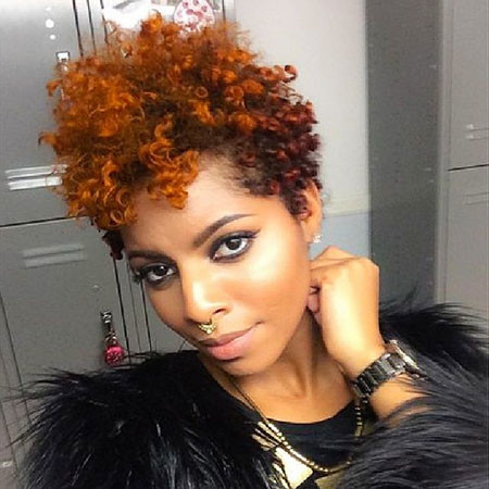 Short-Natural-Curly-Hair Short Natural Hairstyles with Color