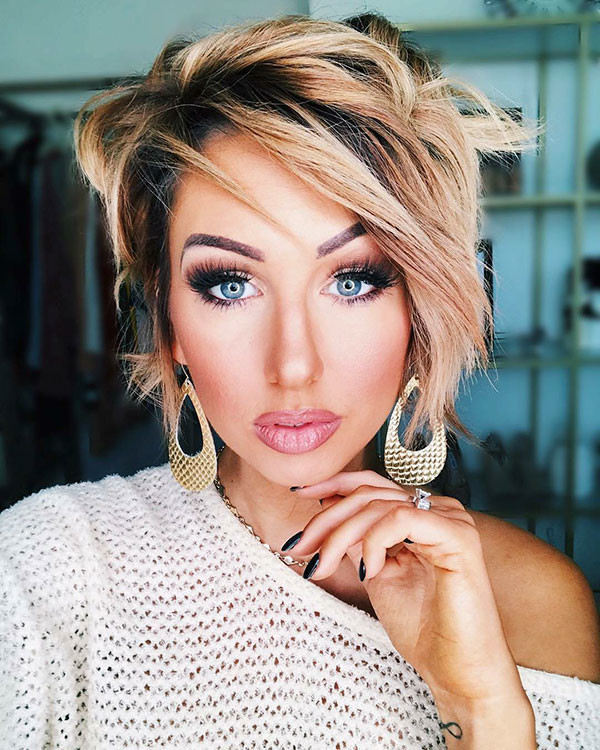 Side-Parted-Longer-Pixie New Cute Short Hairstyles
