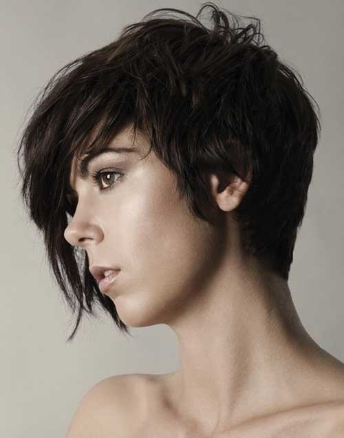 Asymmetric-Long-Dark-Pixie-Style Short Hairstyles for Dark Hair