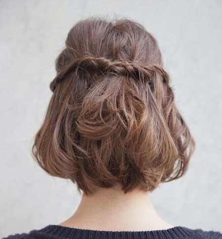 Back-View-of-Twisted-Braid-Hairstyle-with-Inverted-Hair Short Braided Hairstyle