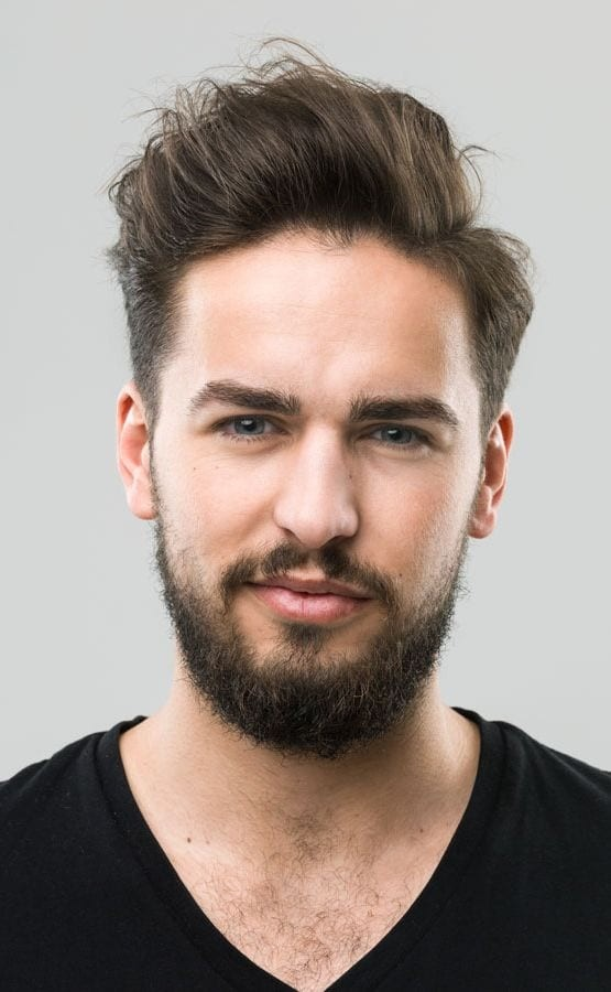 Brushed-Up-with-a-Side-Part Selected Hairstyles for Men With Big Foreheads