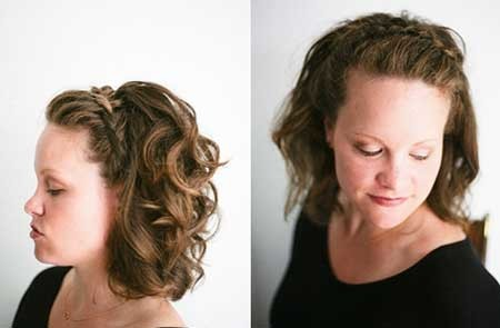 Crown-Braid-with-Curly-Short-Hair-for-Women Short Braided Hairstyle