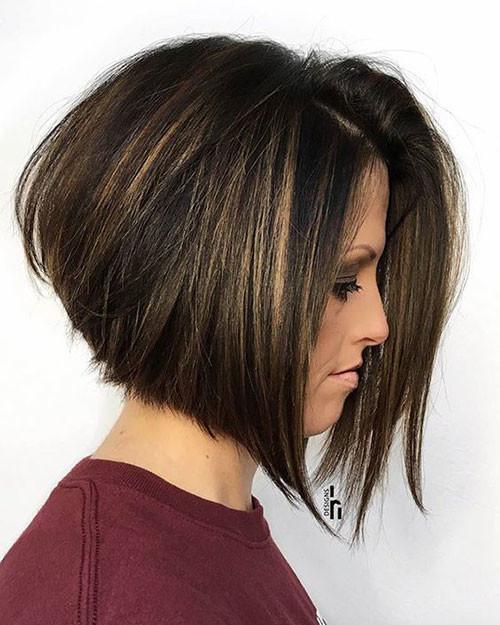 Dark-Long-Bob-with-Blonde-Lights Haircut Styles for Short Hair