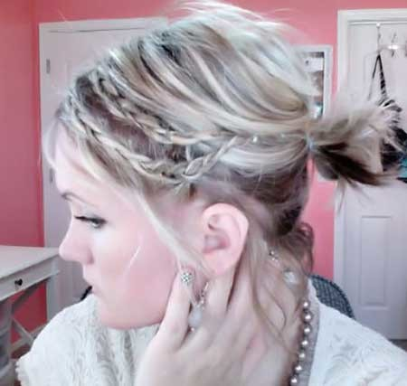 Double-Side-Braids-with-Messy-Bun-Hairdo Short Braided Hairstyle