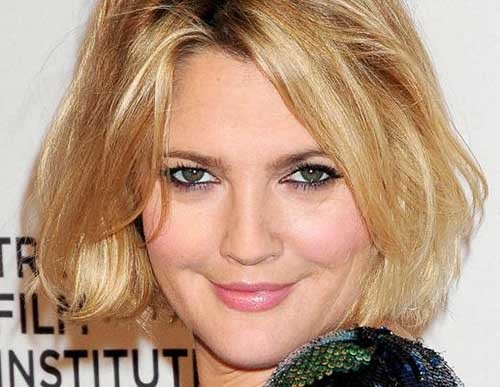 Drew-Barrymore-Messy-Haircut-for-Round-Faces Bob Cuts for Round Faces