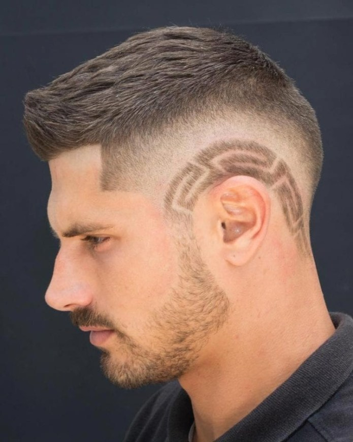 High-and-Tight-Drop-Skin-Fade-Hair-Design Unique Haircut Designs for Men