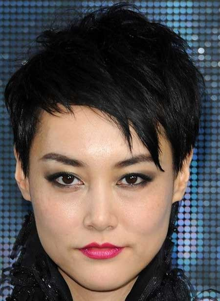 Messy-Top-and-Longer-Bangs-at-Front-Hairstyle Short Pixie Cuts for Women