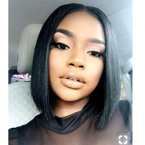 Middle-Part-Bob-Sew Best Short Hair Cuts on Black Women in 2019