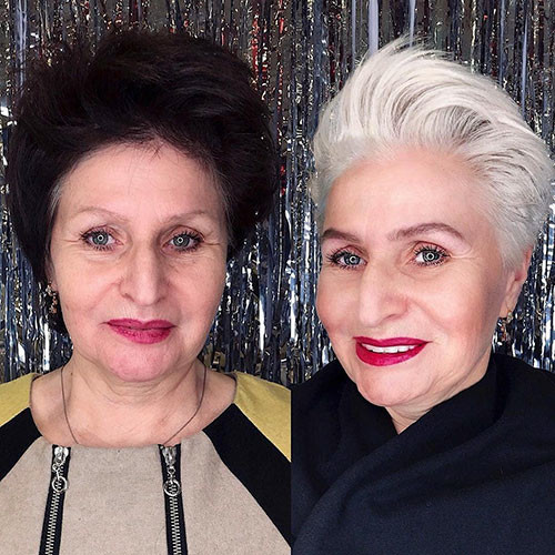 Natural-Hair-Color Beautiful Pixie Cuts for Older Women 2019