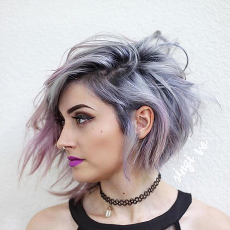 Purple-and-Silver New Bob Hairstyles 2019