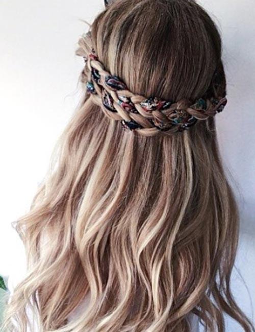Scarfed-Crown-Braid Beautiful Crown Braid Hairstyles