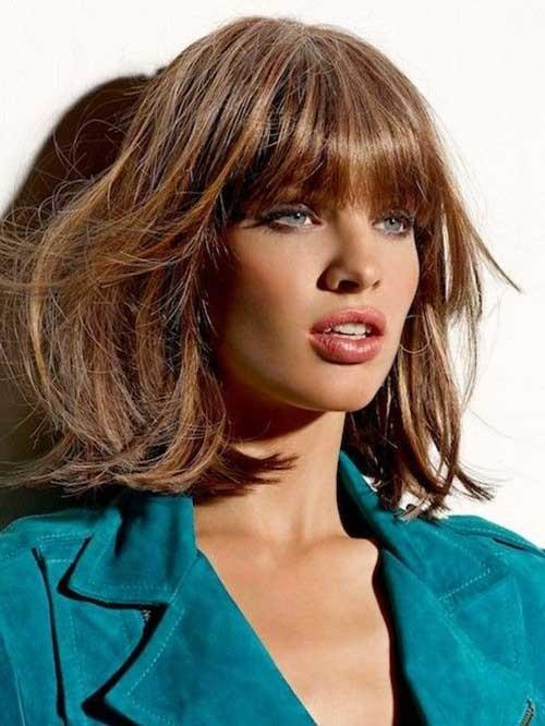 Short-Caramel-Hairstyle-with-Bangs Short Bob Haircut with Bangs
