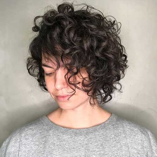Short-Curly-Bangs Cute Curly Short Hairstyles for Ladies
