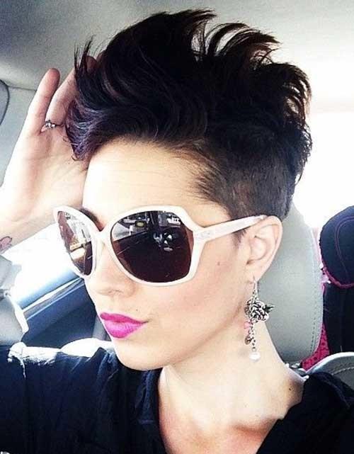 Short-Dark-Mohawk-Haircut-with-Undercut Short Hairstyles for Dark Hair