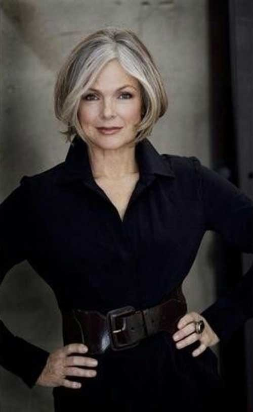 Short-Grey-Hair-with-Highlights-for-Women-Over-50 Short Hair Styles For Women Over 50