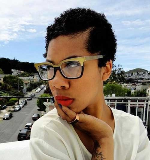 Short-Natural-Pixie-Dark-Curly-Hair Short Hairstyles for Dark Hair