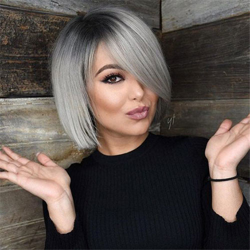 Short-Ombre-Grey-Hair Latest Short Haircuts for Women 2019