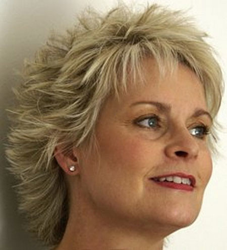 Short-Spiked-Blonde-Voluminous-Haircut Short Hair for Older Women