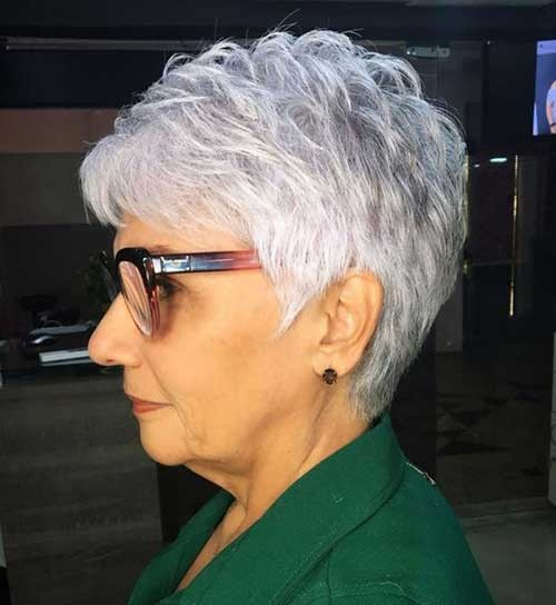 Short-Stacked-Pixie Short Haircuts for Older Women 2019