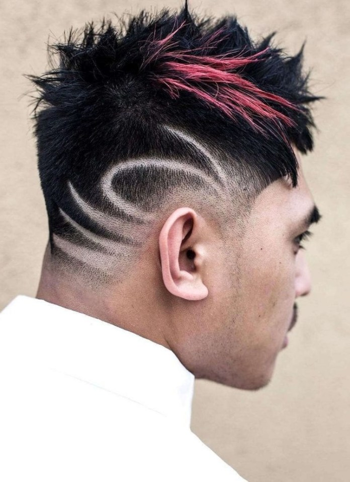Sprayed-Highlights-with-Shaved-Lines Unique Haircut Designs for Men