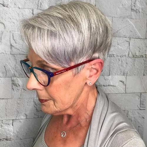 Straight-Fine-Grey-Hair Short Haircuts for Older Women 2019