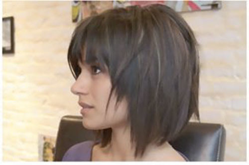 Straight-Hair-1 Best Short Layered Bob With Bangs