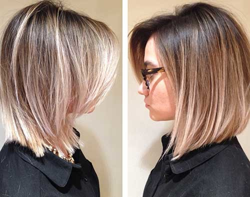 Straight-Ombre-Hairstyle-Long-Bob Beautiful Ombre Bob Hairstyles