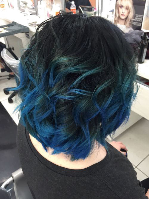 13-blue-black-short-hair Popular Short Blue Hair Ideas in 2019