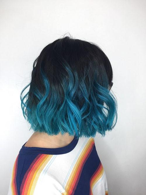 15-black-and-blue-short-hair Popular Short Blue Hair Ideas in 2019