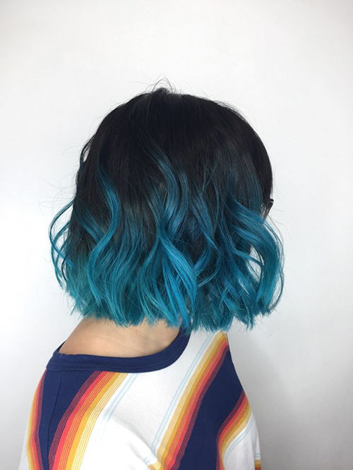 15-black-and-blue-short-hair Popular Short Blue Hair Ideas in 2019
