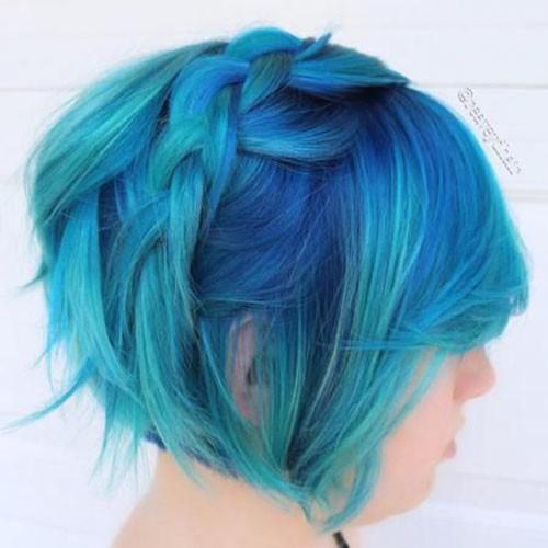 23-blue-and-green-short-hair Popular Short Blue Hair Ideas in 2019